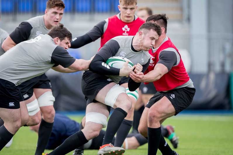 Another academy representative, John Foley, made his Ireland U20 debut against England. Here he is pictured during the captain's run. ©INPHO/Morgan Treacy