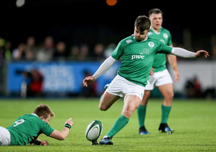 On his return from injury, the academy's Bill Johnston impressed at out half for Ireland U20 during the 6 Nations campaign. ©INPHO/Gary Carr