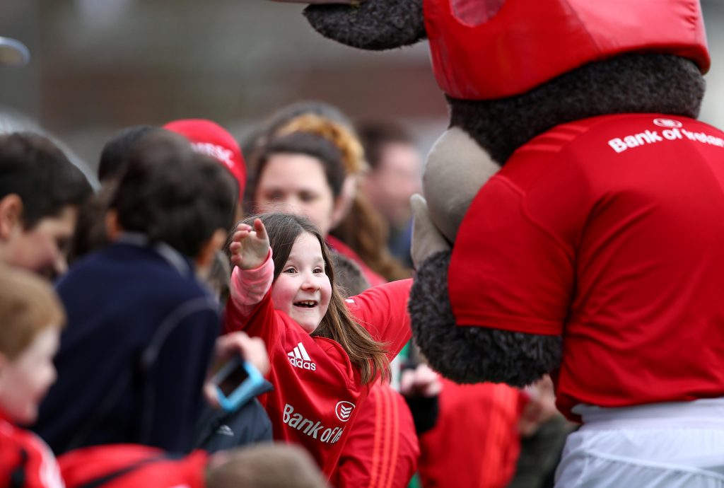 Munster Rugby mascot Oscar will be meeting young supporters in the Bank of Ireland Family Funzone.