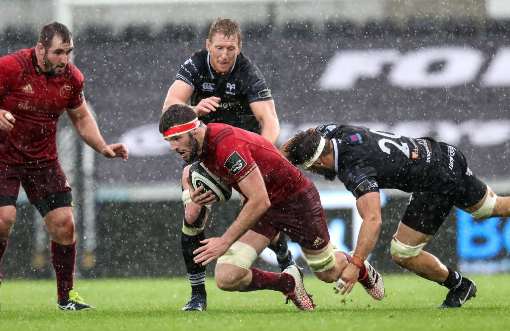 Sean O'Connor in Guinness PRO14 action against the Ospreys in September 2017.